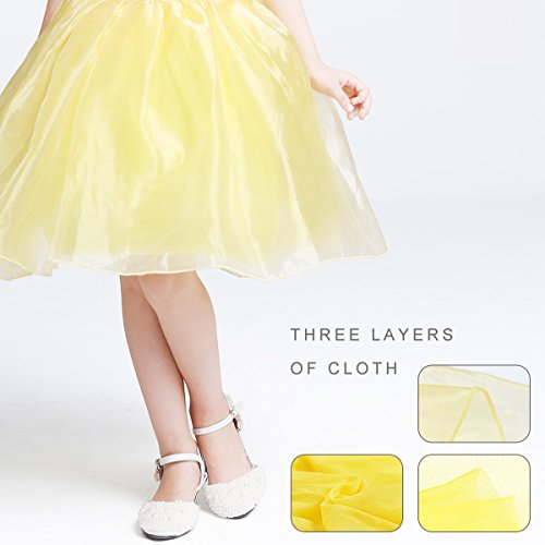 LOEL Girls Princess Belle Costume Party Fancy Dress Up