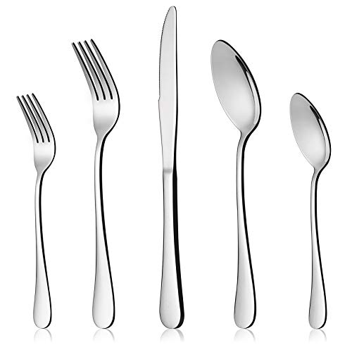 LIANYU 30-Piece Flatware Silverware Set for 6, Stainless Steel Cutlery Eating Utensils, Mirror Finished, Dishwasher Safe