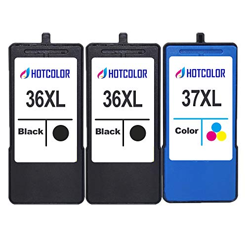 HOTCOLOR Replacement for Lexmark 36XL 37XL Ink Cartridge for Lexmark x3650 x4650 x5650 x5650es x6650 x6675 Z2420 Printer (2 Black 1 Color)