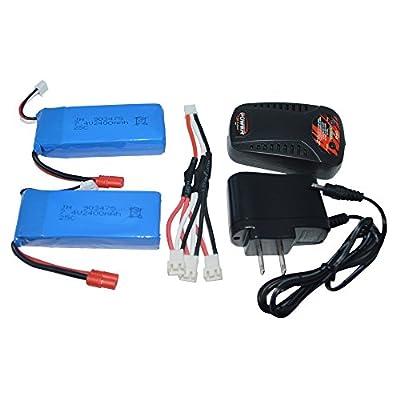 Blomiky 2pcs 7.4V 2000mAh Battery Banana Plug and Charger for SYMA X8C X8W X8G X8HD X8HW X8HG 506HG JXD 506G Holy HS300 HS400 Quadcopter X8C Battery 2