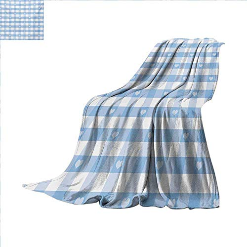 Checkered Custom Design Cozy Flannel Blanket Gingham Motif with Cute Little Hearts Pastel Blue Baby Shower Kids Theme Lightweight Blanket Extra Big 80 x 60 inch Pale Blue White