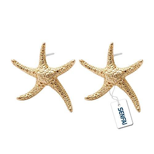 Gold Starfish Earrings (SENFAI New Arrival Lovely Starfish Earring for Women Fancy Ear Stud Jewelry)