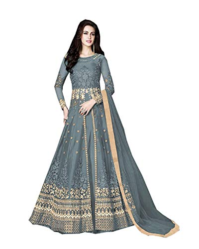 (Delisa Indian/Pakistani Bollywood Party Wear Long Anarkali Gown for Womens Razzi 1002 (Grey, SMALL-38))