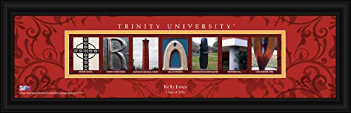 (Prints Charming College Campus Letter Art Personalized Trinity Tigers Framed Posters 22x6 Inches)