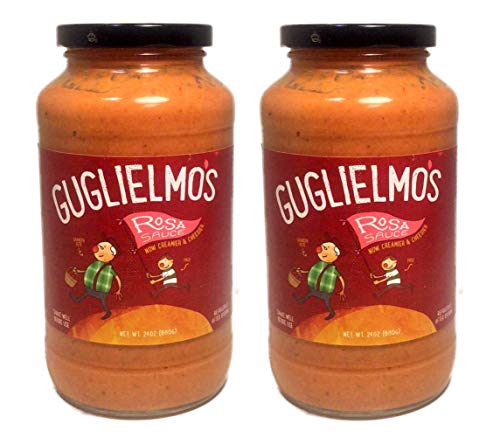 Guglielmo's Rosa Creamy Pasta Sauce (2) 24 oz Jars, Pink Blush Blend of Alfredo (Cream, Parmesan Cheese, Garlic) and Marinara (Fresh Tomatoes, Peppers, Basil, Onion)