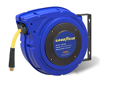 Goodyear 27527153G Enclosed Retractable Air Compressor/Water Hose Reel with 3/8 in. x 50 ft. Hybrid Polymer Hose, Max. -
