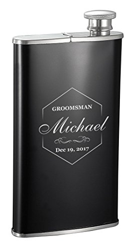 Cigar Holder Personalized (Personalized Visol Edian 4oz Hip Flask with Built-in Cigar Holder with Free Groomsman Design Engraving (Groom1))