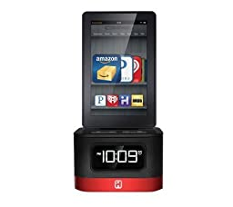 iHome (iK50) SMARTDESIGN Space Saver FM Stereo Alarm Clock and Charger Dock Station for Kindle Fire®