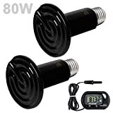 Wuhostam 2 Pack 80W Ceramic Heat Lamp with 1-pcs Digital-Thermometer, Infrared Reptile Heat Emitter Heater Lamp Bulb for Pet Brooder Coop Chicken Lizard Turtle Snake Aquarium ETL Listed