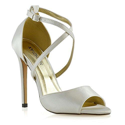 Fibbia Tacco Satin Essex Caviglia Donna A Avorio Spillo Cinturino Glam Sandalo Matrimonio Festa q1zqnwp8