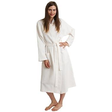 TowelSelections Turkish Waffle Bathrobe Kimono Spa Robe for Women and Men Medium/Large Ivory