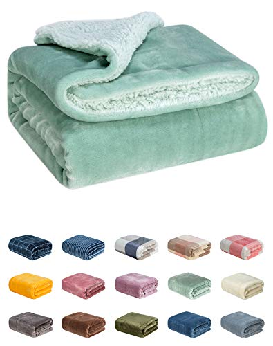 (WONDER MIRACLE Fuzzy Sherpa Double Layers Super Thick and Warm Fleece Reversible Infant,Baby,Toddler,pet Blanket for Crib, Stroller, Travel, Couch and Bed (40Wx50L, Aqua Green))