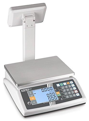 Balanza comercial [Kern RFE 6K3M] Balanza de porciones compacta con 2 pantallas XXL - peso, precio básico y de venta y TARA de una ojeada, Campo de pesaje ...