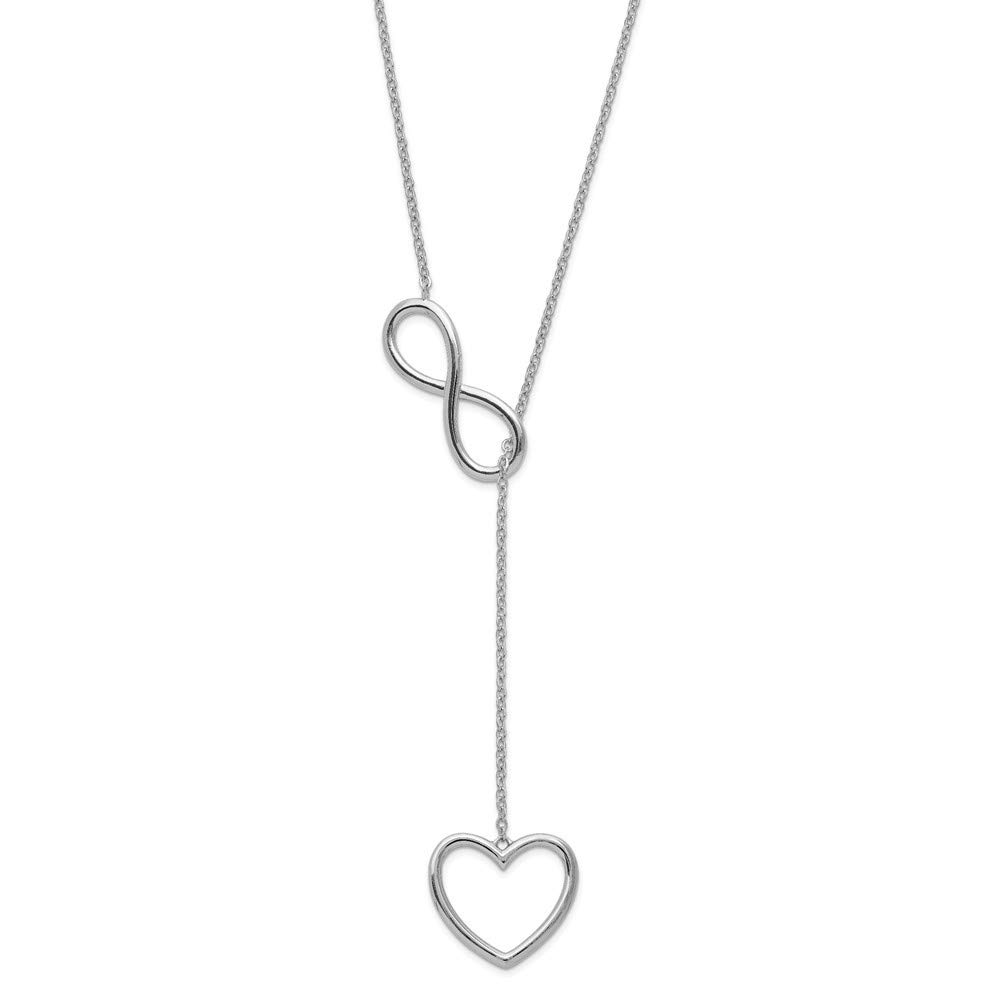 925 Sterling Silver Rhod-plated Infinity 1 1//2 In Drop Heart Pendant With 2 In Ext Necklace 16 Inch