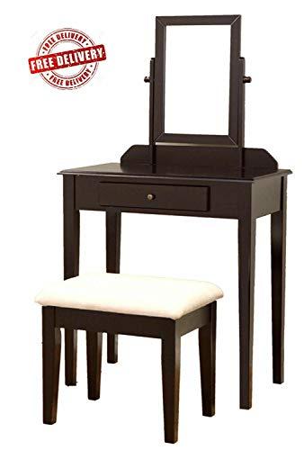 (kwantasmile Bedroom Furniture Dresser Bedroom Studio Dressing Room Vanity Mirror Table Set Make Up Wood Chair Desk Espresso Finish Home Furniture)