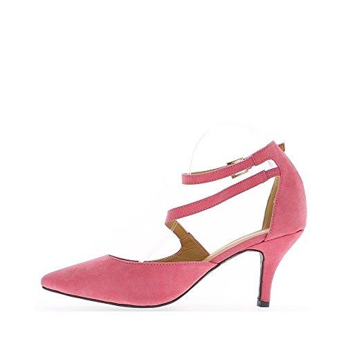 Escarpins grande taille roses aspect daim à talons de 8,5cm pointus
