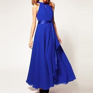 Heng Song - Vestido Largo de Fiesta para Mujer, Sin Manga (Azul)