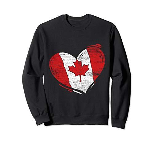 - Love Heart Canadian Maple Leaf Canada Flag Sweatshirt