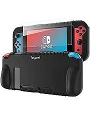 Teyomi capa de silicone protetora para Nintendo Switch, capa de aperto com protetor de tela de vidro temperado, 2 slots de armazenamento para cartões de jogo, absorção de choque e anti-riscos (Preto)