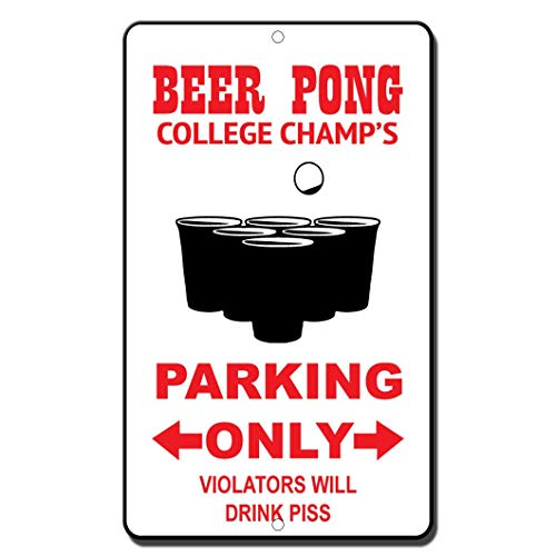 NDTS New Metal Tin Sign Beer Pong Players Only Violators Will Drink Piss Novelty Great for Bar Coffee Garden Yard Indoor and Outdoor 12x16 inches