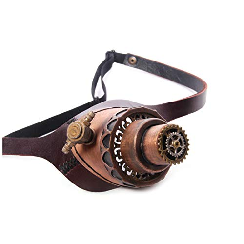 Vfdsvbdv Steampunk Goggle Victorian Court Gothic Leather Goggle One Side with 2 LED Color Lights (Color : Brown) ()