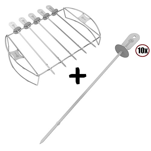 Cave Tools Barbecue Skewers + Shish Kabob Set - BBQ Kebab Rack Maker for Meat & Vegetable - Portable Stainless Steel Kabab Stick for Cooking on Gas or Charcoal Grill - 180 Degree Rotisserie