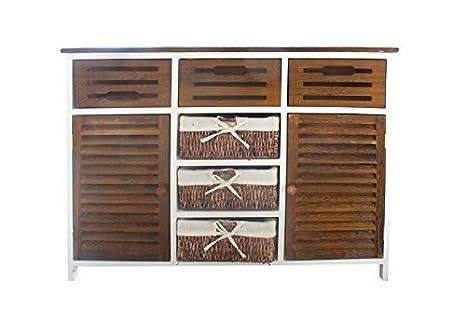 Credenza Con Cestini : Credenza mobile armadietto legno bianco marrone shabby ante