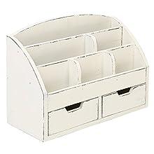 MyGift Vintage White Wood Desk Organizer / 6 Compartment, 2 Drawer Office Supplies Cabinet