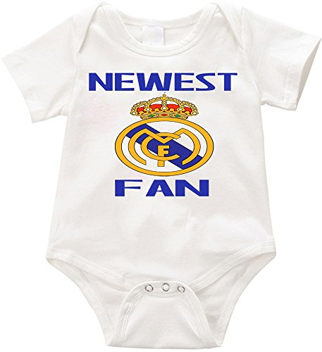 Official LPM Newest Real Madrid fan Unisex Romper Creeper onesie (NB, White)