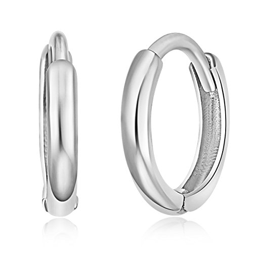(14k White Gold 1.5mm Thickness Huggie Earrings (8 x 8 mm))