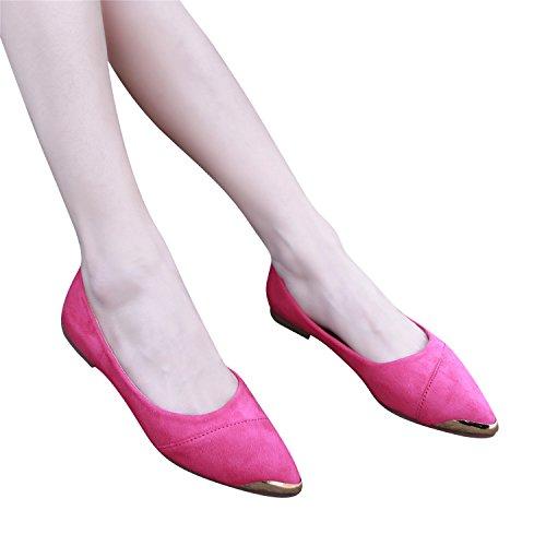 Smilun Women's Ballerina Flat Classic Ballet Flat Shiny Metalic Pointed Toe Rosa 5L8Ne