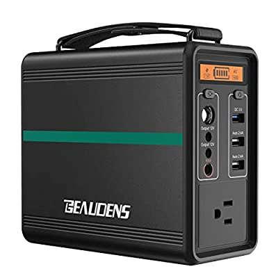 BEAUDENS Portable Power Station, 166Wh Power Generator, Lithium Iron Phosphate Battery, 2000 Cycles, 10 Years Battery Life, with 110V AC Port, 2 DC Ports, 3 USB Ports