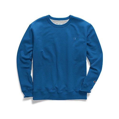 Champion Men's Powerblend Fleece Pullover Sweatshirt, deep Hotline Blue ()