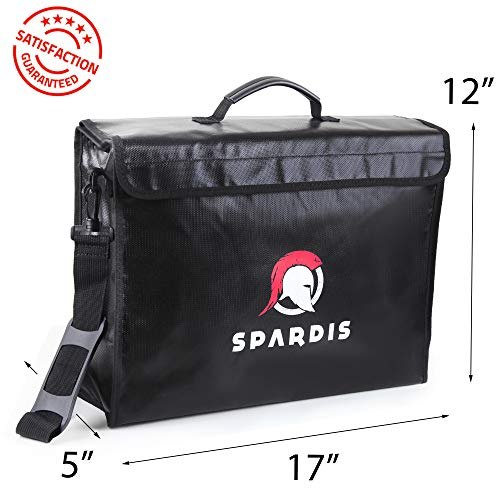 "Spardis XXL Jumbo (17""x5""x12"") Fireproof Document Bag Dual Layer Fire Resistant Lipo Bag w/Heavy-Duty Locking Zipper, Handle, Shoulder Strap, Heat-Proof Aluminum & No-Itch Silicone Coated Fiberglass"