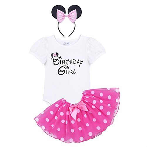 Freebily Infant Baby Girls Birthday Outfit Short Sleeve Romper With Tutu Skirt and Headband Set Rose 18-24 Months