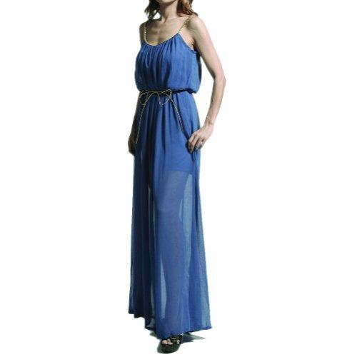 Boho Gold Trim Strap Chiffon Maxi Long Cocktail Night Evening Shimmery Dress (Large, Beige)