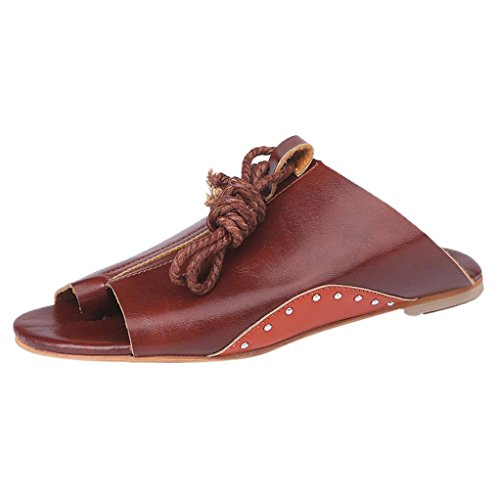 hunpta Roman Sandals, Women Flat-bottomed Roman Sandals Open Ankle Flat Straps Platform Wedges Shoes Brown