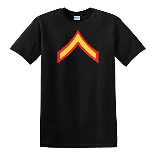 fagraphix Men's E-2 PFC Private First Class Insignia T-Shirt Large Black
