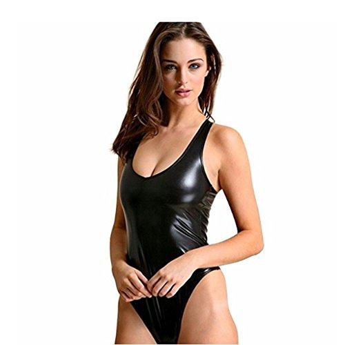 iEFiEL Women One-Piece Shiny Metallic Sleeveless Tank Dance Unitard Catsuit Leotard Bodysuit Jumpsuits
