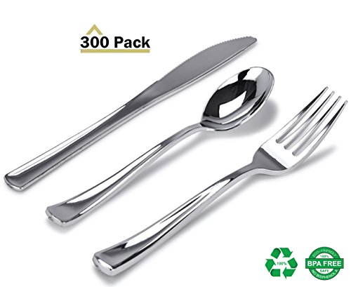 Stock Your Home 300 Piece Plastic Silverware Set, Looks Like Silver Cutlery - Solid, Durable, Heavy-duty Includes: 100 Forks, 100 Knives, 100 Spoons Perfect for Parties, Weddings & Catering Events
