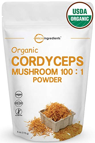 Maximum Strength Organic Cordyceps Mushroom 100:1 Powder (30% Cordycepic Acid & 35% Polysaccharid), 6 Ounce, Powerfully Supports Energy & Immune Health, Non-GMO & Vegan Friendly ()