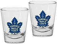 Toronto Maple Leafs 1.5oz Round Team Logo Shot Glass Set (Qty: 2 Glasses)