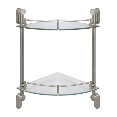 MODONA Double Corner Glass Shelf with Pre-installed Rail - SATIN NICKEL - Oval Series - 5 Year Warrantee