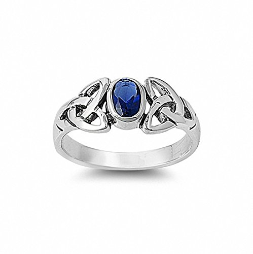 Blue Celtic Sapphire Ring (Celtic Ring Oval Bezel Simulated Blue Sapphire 925 Sterling Silver,Size-8)