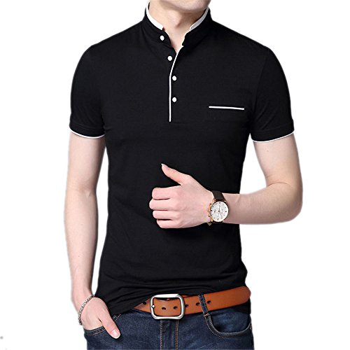 Ngjikaif Collar Short Sleeve Tee Shirt Men New Top Men Brand Clothing Slim Fit Cotton T-Shirts