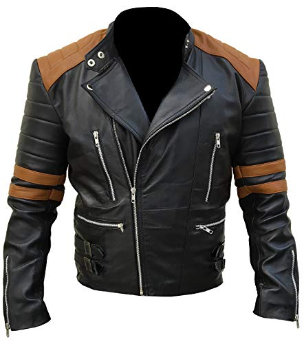 Men's Motorcycle Cafe Racer Vintage Distressed Jacket Collection On Amazon (Brown - Biker UK Flag Distressed Brown Real Leather Jacket, Medium/Body Chest 40