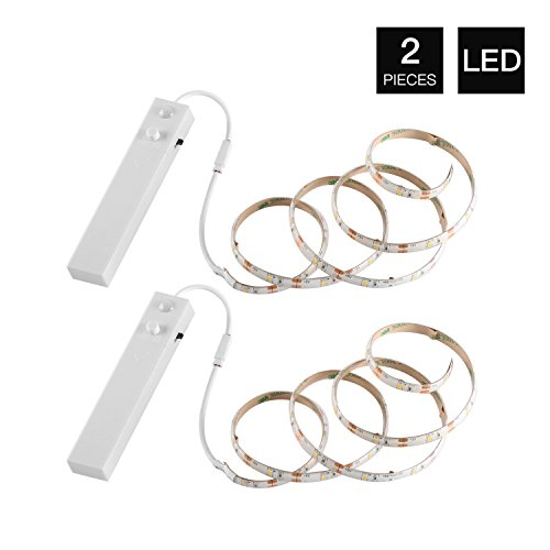 YOUKOYI Battery Powered LED Strip Lights Flexible Motion Sensor Closet Light for Cabinet/ Cupord/ Stairs, 4000k- 2 Pack
