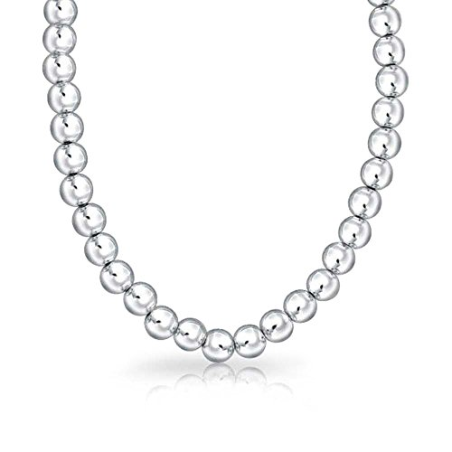 Classic 8MM Polished Ball Round Bead Strand 925 Sterling Silver Necklace For Women 16 Inch