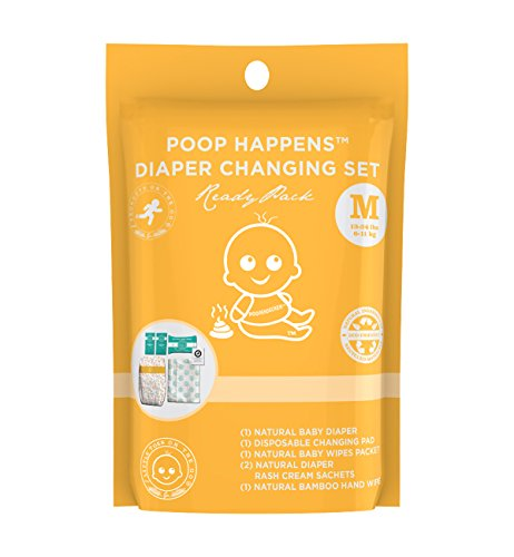 Little Toes On The Go Poop Happens One Complete Natural Diaper Change Set with Bamboo Baby Diaper, Diaper Rash Cream, Baby Wipes, Hand Wipes and Disposable Diaper Changing Pad (Medium 13-24lbs)