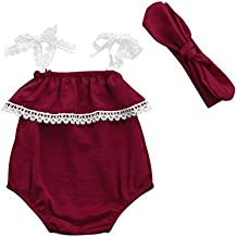 Fartido Romper Baby Girl Solid Lace Strap Jumpsuit + Headband Set Clothes